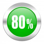 80 percent green circle chrome web icon isolated