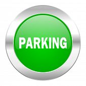 parking green circle chrome web icon isolated