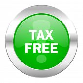 tax free green circle chrome web icon isolated