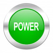 power green circle chrome web icon isolated