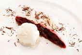 cherry strudel with ice cream