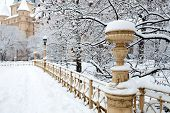 Snow covered vintage winter park view outdoor with trees, mansion, handrail, candelabre.