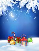 Vector Christmas Winter Night Background