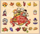 Thanksgiving Day Set of Colored Illustrations