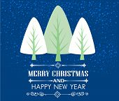 Vintage Christmas card with tree and ornaments, Xmas card