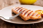 Slice of grilled salmon on a dish