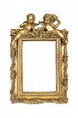Gold picture frame with angels isolated over white, clipping path.