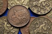 Coins of the Czech Republic. St Peter and Paul Cathedral in Brno, Czech Republic, depicted in Czech ten korunas coin.