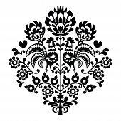 Polish folk art black pattern on white - Wycinanka, Wzory Lowickie