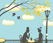 stock photo of nightingale  - Loving couple in a city cafe in the clouds - JPG
