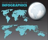World maps and 3d globe elements for your infographics reports - dark version