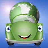 Ecological Green Car With Earth