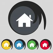 Home sign icon. Main page button. Navigation symbol. Set colur buttons Vector