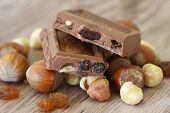 Milk chocolate with nuts and almonds