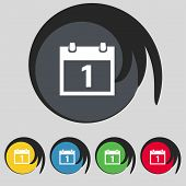 Calendar sign icon. 1 day month symbol. Date button. Set colourful buttons Vector