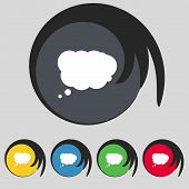 Cloud sign icon. Data storage symbol.Set colourful buttons. Vector