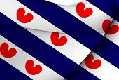 Flag Of Friesland, Netherlands.