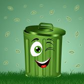 Funny Green Garbage Bin In The Grass