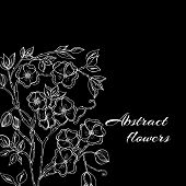 Abstract background with flowers in black and white style
