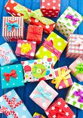 Little Presents Wrapped In Colorful Paper