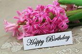 Happy Birthday card with pink hyacinth