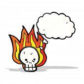 cartoon flaming skull symbol