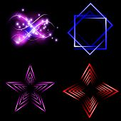 Set of Blurry abstract lines. Light effect. Sparkle background. Vector