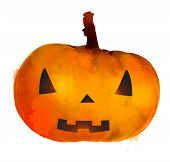 Jack o lantern pumpkin with scary face illustration