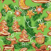 Seamless Christmas Pattern - Xmas Gingerbread On Green Background - Cookies In Reindeer, Star, Moon