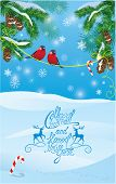 Card With Fir Tree Branches And Bullfinch Birds On Light Blue Sky Background. Handwritten Text Chris