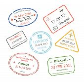 International business travel visa stamps set vector