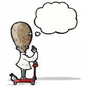 cartoon big brain scientist