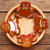 Christmas homemade gingerbread cookies on table