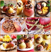 Collage of baked apples