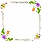 Beautiful flower frame isolated on white