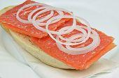 foto of sandwich  - salmon sandwich, fish sandwich, salmon, sandwich, bun, roll, close up ** Note: Shallow depth of field - JPG