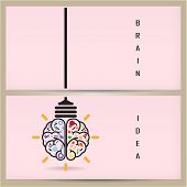 Creative Brain Idea And Light Bulb Banner Concept, Design For Poster Flyer Cover Brochure