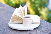Cup with hot drink and book, on tray, outdoors