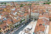 Aerial view of Piazza delle Erbe in center of Verona
