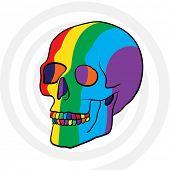 surreal rainbow color human skull