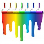 roller brush with rainbow colors paint