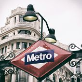 Metro sign in Madrid, Spain with retro effect
