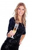 Attractive blonde woman wearing black sequins toasting with champagne isolated on white