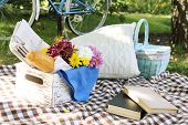 Old bicycle and picnic snack on checkered blanket on grass closeup
