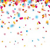 Colorful celebration background with defocused confetti. Vector illustration.