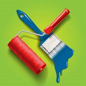work tools - paint brush and roller with red and blue color paint