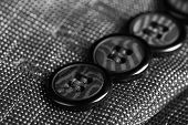 Buttons on clothes close up