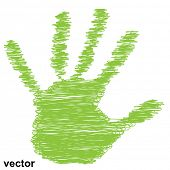 Vector conceptual green painted drawing hand shape print or scribble isolated on white paper backgro