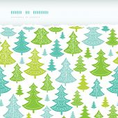 Holiday Christmas trees horizontal torn seamless pattern background