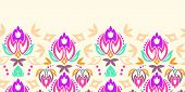 Abstract damask tulips horizontal seamless pattern background